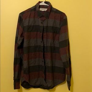 Ezekiel red, black and gray striped flannel